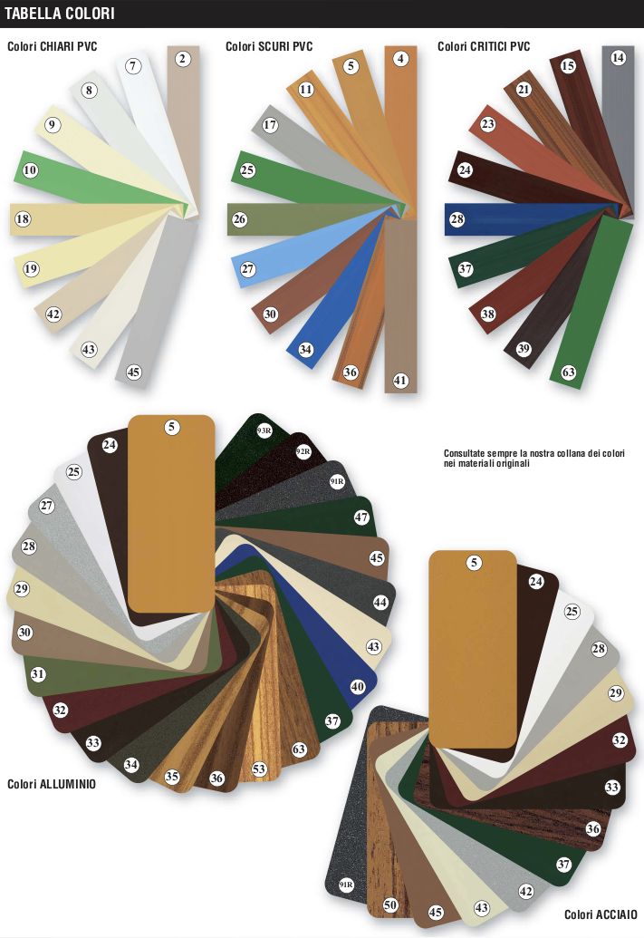 Tabella colori Avvolgibili - Mingucci